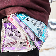 Rob Kingwill sports a series of lift tickets on his belt loop from Mount Baker Ski Area in Washington State. I love finding a small piece of history within our sport.
