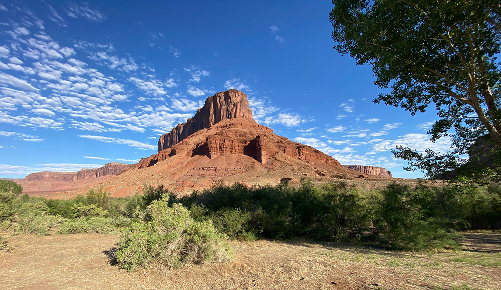 """Panoramic photo of the """"Professor Valley"""" and Castle Mountain, Moab, Utah"""