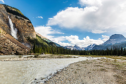 Takakkaw Falls and the Yoho Valley.  Tumbling 830 feet in one stretch then 1,260 feet in total, these falls are among the highest in Canada