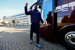 Jalan McCloud of Bristol Flyers arrives at Plymouth Pavilions prior to kick off - Photo mandatory by-line: Ryan Hiscott/JMP - 28/10/2018 - BASKETBALL - Plymouth Pavilions - Plymouth, England - Plymouth Raiders v Bristol Flyers - British Basketball Cup