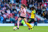 Den-Den Blackwood (#14) of Jamaica challenges Lisa Evans (#11) of Scotland for the ball during the International Friendly match between Scotland Women and Jamaica Women at Hampden Park, Glasgow, United Kingdom on 28 May 2019.