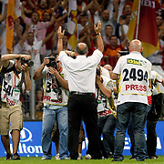 Galatasaray's coach Fatih TERIM (C) during their Friendly soccer match Galatasaray between Liverpool at the TT Arena at Arslantepe in Istanbul Turkey on Saturday 28 July 2011. Photo by TURKPIX