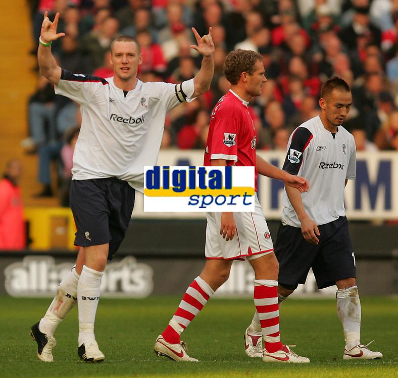 Photo: Frances Leader.<br />Charlton Athletic v Bolton Wanderers. The Barclays Premiership. 29/10/2005.<br /><br />Bolton's captain Kevin Nolan celebrates his winning goal against Charlton.