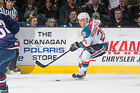 KELOWNA, CANADA - MARCH 4: Conner Bruggen-Cate #20 of the Kelowna Rockets skates with the puck against the Tri-City Americans on March 4, 2017 at Prospera Place in Kelowna, British Columbia, Canada.  (Photo by Marissa Baecker/Shoot the Breeze)  *** Local Caption ***