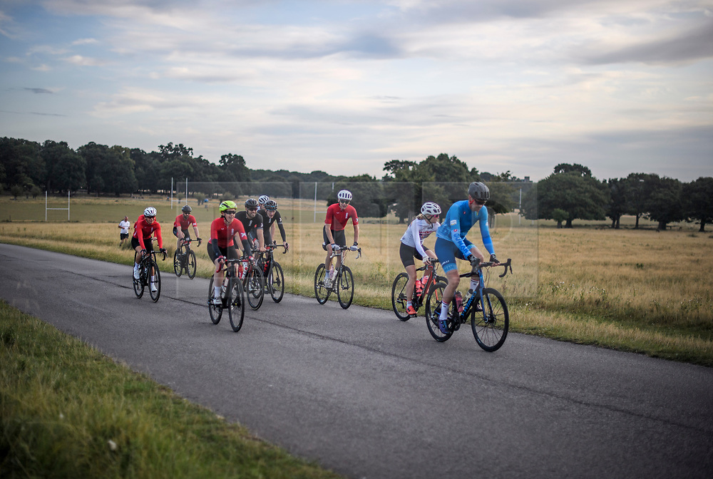 © Licensed to London News Pictures. 01/09/2019. London, UK. A group of cyclists at first light in Richmond Park on the first day of meteorological autumn. Photo credit: Ben Cawthra/LNP