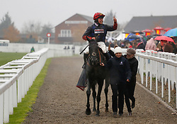 Black Corton and Bryony Frost after winning The mallardjewellers.com Novices' Steeple Chase Race run during day two of the November Meeting at Cheltenham Racecourse.