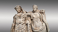 Close up of Roman Sebasteion relief  sculpture of Nero being crowned emperor by Agrippina, Aphrodisias Museum, Aphrodisias, Turkey. <br /> <br /> Agrippina crowns her young son Nero with a laurel wreath. She carries a cornucopia, a symbol of Fortune and Plenty, and he wears the armour and cloak of a Roman commander, with a helmet on the ground near his feet. The scene refers to Nero's accession as emperor in AD 54, and belongs before AD 59 when Nero had Agrippina murdered. .<br /> <br /> If you prefer to buy from our ALAMY STOCK LIBRARY page at https://www.alamy.com/portfolio/paul-williams-funkystock/greco-roman-sculptures.html . Type -    Aphrodisias     - into LOWER SEARCH WITHIN GALLERY box - Refine search by adding a subject, place, background colour, museum etc.<br /> <br /> Visit our ROMAN WORLD PHOTO COLLECTIONS for more photos to download or buy as wall art prints https://funkystock.photoshelter.com/gallery-collection/The-Romans-Art-Artefacts-Antiquities-Historic-Sites-Pictures-Images/C0000r2uLJJo9_s0
