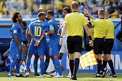 (l-r) Neymar of Brazil, Thiago Silva of Brazil, referee Bjorn Kuipers during the 2018 FIFA World Cup Russia group E match between Brazil and Costa Rica at the Saint Petersburg Stadium on June 22, 2018 in Saint Petersburg, Russia.