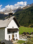 """Kuhmad Chapel dates from 1758 in Lötschental (or Loetschental) in the Valais canton of Switzerland, the Alps, Europe. UNESCO lists """"Swiss Alps Jungfrau-Aletsch"""" as a World Heritage Area (2001, 2007)."""