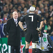 Richie McCaw, New Zealand after being presented with his 100th test cap afer the New Zealand V France, Pool A match during the IRB Rugby World Cup tournament. Eden Park, Auckland, New Zealand, 24th September 2011. Photo Tim Clayton...
