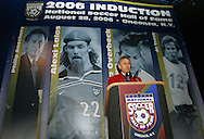 28 August 2006: 2006 Hall of Fame inductee Philip Anschutz gives his induction speech. The National Soccer Hall of Fame Induction Ceremony was held at the National Soccer Hall of Fame in Oneonta, New York.