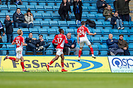 Charlton Athletic midfielder Josh Cullen (24)  scores a goal (0-2) and celebrates during the EFL Sky Bet League 1 match between Gillingham and Charlton Athletic at the MEMS Priestfield Stadium, Gillingham, England on 27 April 2019.