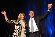 U.S. Presidential hopeful Republican Mitt Romney, with his wife Ann Romney (L), waves to supporters after announcing that he will suspend his campaign to be President of the United States during a speech at The American Conservative Union Political Action Conference in Washington, D.C. USA 07 February 2008. On Super Tuesday Romney failed to make advances against Republican front runner John McCain.