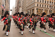 The pipe band of the Emerald Society of the Fire Department of New York.