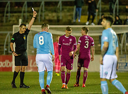 Arbroath's Thomas O'Brien tackles Forfar Athletic's Hilson for his second yellow card and is sent off by Ref Euan Anderson. Forfar Athletic 2 v 3 Arbroath, Scottish Football League Division One played 8/12/2018 at Forfar Athletic's home ground, Station Park, Forfar