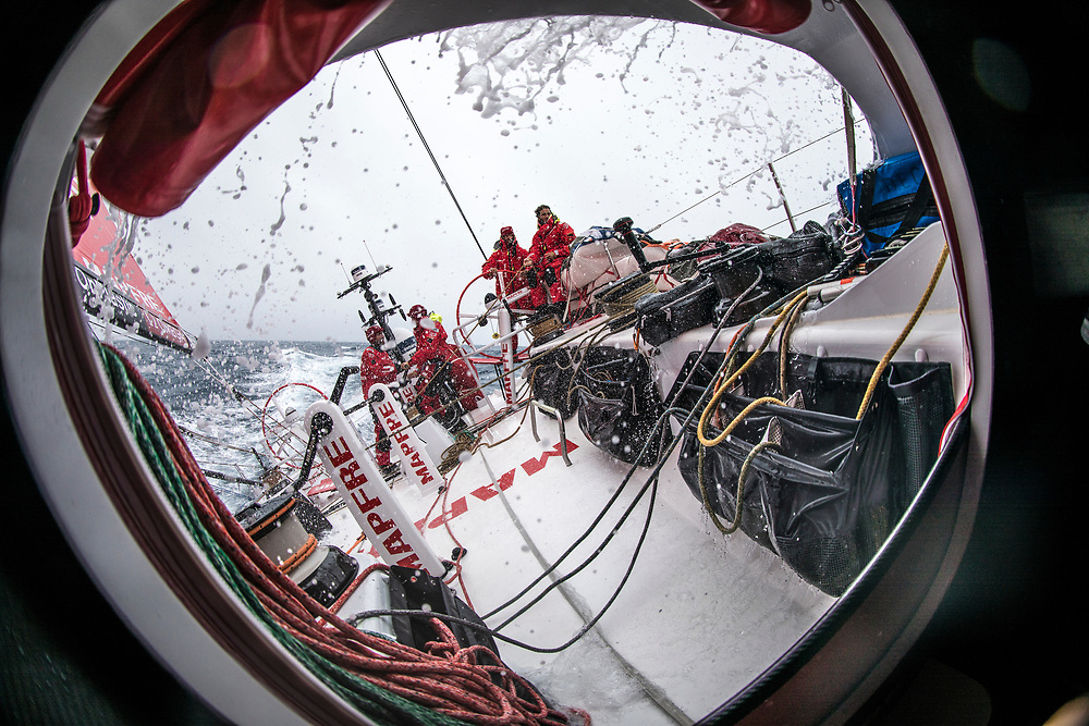 Leg 02, Lisbon to Cape Town, day 18, on board MAPFRE, Lighter day than yesterday, but the water stil there. Photo by Ugo Fonolla/Volvo Ocean Race. 22 November, 2017