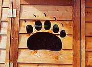Details of Brown Bear Paw window in outhouse at National Park Service Ranger Cabin, Silver Salmon Creek, Lake Clark National Park, Alaska.