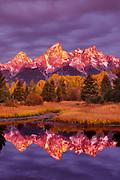 Teton Range at Dawn, Reflected in the Snake River, Grand Teton National Park, Wyoming