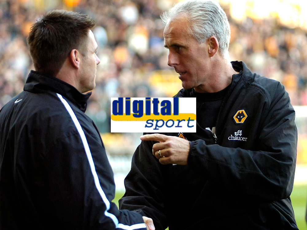 Photo: Ed Godden.<br /> Wolverhampton Wanderers v Southend United. Coca Cola Championship. 04/11/2006. Southend Manager Steve Tilson (L) meets the Wolves Manager Mick McCarthy just before kick off.