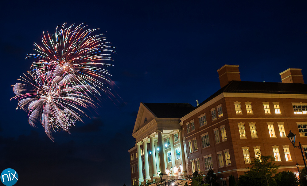 Fireworks light up the sky over the North Carolina Research Campus following the Symphonic Stars & Stripes Salute at Village Park in Kannapolis on July 2, 2014.