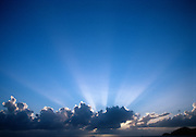 Clouds and god rays with blue sky.