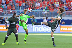 SANTA CLARA, USA - Saturday, July 30, 2016: Liverpool's Trent Alexander-Arnold in action against AC Milan's Niccolò El Zanellato during the International Champions Cup 2016 game on day ten of the club's USA Pre-season Tour at the Levi's Stadium. (Pic by David Rawcliffe/Propaganda)