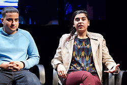 Another World <br /> Losing Our Children To Islamic State <br /> directed by Nicholas Kent <br /> at Temporary Theatre, National Theatre, Southbank, London, Great Britain<br /> Press photocall <br /> 14th April 2016 <br /> <br /> <br /> Zara Azam / Lara Sawalha / Ronak Patani / Fashid Rokey <br /> as students <br /> <br /> <br /> <br /> <br /> Photograph by Elliott Franks <br /> Image licensed to Elliott Franks Photography Services