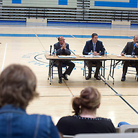 The three finalists for superintendent for the Zuni Public School District, from left, Brian Staples, Mike Hyatt and Troy Webb field questions about their plans and potential responses on the job during a superintendents candidate forum at  Zuni high School in Zuni Thursday.
