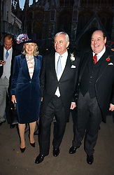 Left to right, RICHARD & MARY HAMBRO and the HON.NICHOLAS SOAMES at the wedding of Clementine Hambro to Orlando Fraser at St.Margarets Westminster Abbey, London on 3rd November 2006.<br /><br />NON EXCLUSIVE - WORLD RIGHTS
