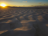 Aerial view of White Sands National Monument at sunset in Tularosa, USA.