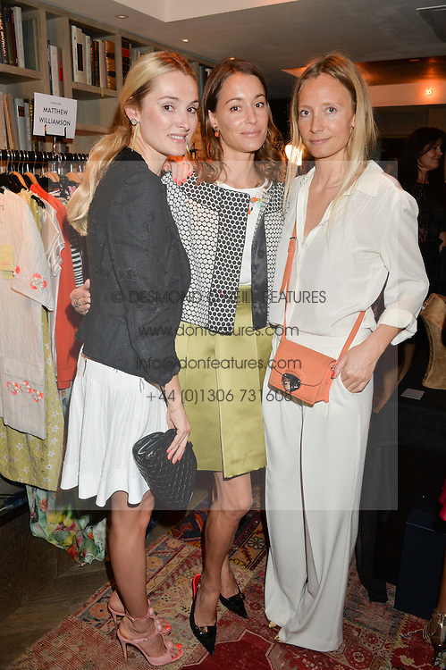 Left to right, AGNIESZKA BUTTER, GEORGINA RYLANCE and MARTHA WARD at the Cavan.com Pop-Up sale held at The Belgraves Hotel, 20 Chesham Place, London on 20th May 2014.