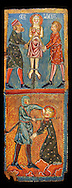 Gothic painted wood panels with scenes of the Martyrdom of Saint Lucy<br /> Circa 1300. Tempera on wood. Date Circa 1300. Dimensions 66 x 25.8 x 2 cm. From the parish church of Santa Llúcia de Mur (Guàrdia de Noguera, Pallars Jussà). National Museum of Catalan Art, Barcelona, Spain, inv no: 035703-CJT .<br /> <br /> If you prefer you can also buy from our ALAMY PHOTO LIBRARY  Collection visit : https://www.alamy.com/portfolio/paul-williams-funkystock/romanesque-art-antiquities.html<br /> Type -     MNAC     - into the LOWER SEARCH WITHIN GALLERY box. Refine search by adding background colour, place, subject etc<br /> <br /> Visit our ROMANESQUE ART PHOTO COLLECTION for more   photos  to download or buy as prints https://funkystock.photoshelter.com/gallery-collection/Medieval-Romanesque-Art-Antiquities-Historic-Sites-Pictures-Images-of/C0000uYGQT94tY_Y .<br /> <br /> If you prefer you can also buy from our ALAMY PHOTO LIBRARY  Collection visit : https://www.alamy.com/portfolio/paul-williams-funkystock/gothic-art-antiquities.html  Type -     MANAC    - into the LOWER SEARCH WITHIN GALLERY box. Refine search by adding background colour, place, museum etc<br /> <br /> Visit our MEDIEVAL GOTHIC ART PHOTO COLLECTIONS for more   photos  to download or buy as prints https://funkystock.photoshelter.com/gallery-collection/Medieval-Gothic-Art-Antiquities-Historic-Sites-Pictures-Images-of/C0000gZ8POl_DCqE