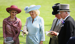 The Duchess of Gloucester (left), The Duchess of Cornwall, The Prince of Wales and Lord Fellowes (right) during day two of Royal Ascot at Ascot Racecourse.