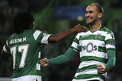 November 22, 2017 - Lisbon, Portugal - Sporting's forward Bas Dost celebrates with Sporting's forward Gelson Martins after scores his goal during the UEFA Champions League group D match between Sporting CP and Olympiacos FC at Alvalade Stadium on November 22, 2017 in Lisboa, Portugal. (Filipe Amorim / Nurphoto) (Credit Image: © Filipe Amorim/NurPhoto via ZUMA Press)