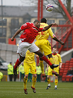 Photo: Steve Bond/Richard Lane Photography. <br />Nottingham Forest v Walsall. Coca Cola League One. 15/03/2008. Wes Morgan (L) Challanges Edrissa Sonko (R) in the air