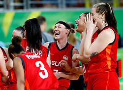 England's Rachael Vanderwal (third right) celebrates silver medal with team-mates after the Women's Gold Medal Game at the Gold Coast Convention and Exhibition Centre during day ten of the 2018 Commonwealth Games in the Gold Coast, Australia.