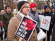 05 JANUARY 2020 - DES MOINES, IOWA: About 100 people attended the march near the Iowa state capitol. The marchers       were protesting against a US war with Iran in the wake of the assassination of Iranian General Suliemani. The assassination was ordered US President Trump.      PHOTO BY JACK KURTZ