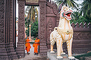 Two young buddhist monks stands at the gateway of a temple in Phnom Penh, Cambodia, Southeast Asia
