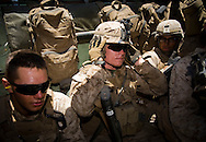 Marines swelter inside an Assault Amphibious Vehicle while the 2nd Battalion, 5th Marine Regiment wait for bison to clear the firing range during live-fire exercises at Camp Pendleton.