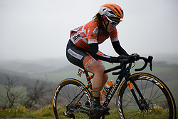 Karol-Ann Canuel on sector five at Strade Bianche - Elite Women 2018 - a 136 km road race on March 3, 2018, starting and finishing in Siena, Italy. (Photo by Sean Robinson/Velofocus.com)