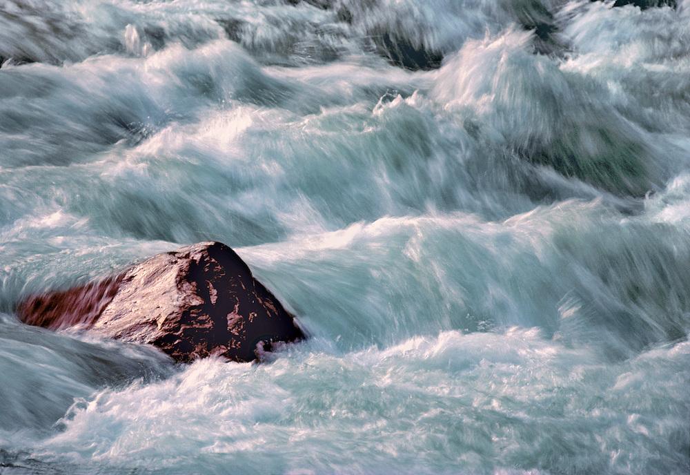The Chuzenji River in Japan's Nikko National Park cascades downstream.