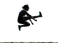 one african athlete athletics long jump woman isolated on white background silhouette