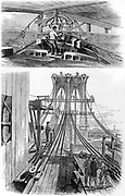 Brooklyn Suspension Bridge, New York, designed and built by John Augustus Roebling (1806-1869) and his son Washington Augustus Roebling (1837-1926). Opened 1883. Top: Laying cable. Bottom: Bridge during construction. From Park Benjamin Appleton's Cyclopaedia of Applied Mechanics, New York, 1880. Engraving