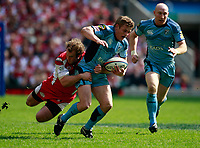 Photo: Richard Lane/Richard Lane Photography. Gloucester Rugby v Cardiff Blues. Anglo Welsh EDF Energy Cup Final. 18/04/2009. Blues' Ben Blair is tackled by Gloucester's James Simpson-Daniel.