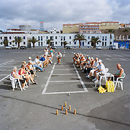 Gran Canaria, Spain. Every week some members of The Norwegian Club meets to play skittles in the market place in Arguineguin.<br /> Photo by Knut Egil Wang/Moment/INSTITUTE
