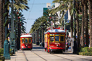 Streetcars in Canal Street in New Orleans, Louisiana, USA