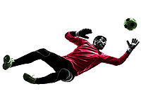 one  soccer player goalkeeper man jumping in silhouette isolated white background
