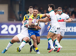 Cardiff Blues' Willis Halaholo under pressure from Pau's Thibault Daubagna<br /> <br /> Photographer Simon King/Replay Images<br /> <br /> European Rugby Challenge Cup - Semi Final - Cardiff Blues v Pau - Saturday 21st April 2018 - Cardiff Arms Park - Cardiff<br /> <br /> World Copyright © Replay Images . All rights reserved. info@replayimages.co.uk - http://replayimages.co.uk