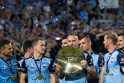 April 13, 2018 - Sydney, NSW, U.S. - SYDNEY, NSW - APRIL 13: Sydney FC defender Jordy Buijs (5) kisses the Premiers plate at the A-League Soccer Match between Sydney FC and Melbourne Victory on April 13, 2018 at Allianz Stadium in Sydney, Australia. (Photo by Speed Media/Icon Sportswire) (Credit Image: © Speed Media/Icon SMI via ZUMA Press)