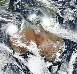March 22, 2019 - Australia - Two severe tropical cyclones bore down on northern Australia at the start of autumn 2019. Cyclone season in the region stretches from November to April, peaking in February and March. Cyclone Trevor first made landfall on the Cape York Peninsula as a category 3 storm on March 20. The storm weakened and meandered over land before intensifying again to a category 4 storm over the warm waters of the Gulf of Carpentaria (about 31 degrees Celsius). The government of the Northern Territory declared a state of emergency and launched the largest evacuation in the state since 1974. (Credit Image: © NASA Earth/ZUMA Wire/ZUMAPRESS.com)